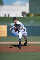 Surprise Saguaros relief pitcher Blake Weiman (55), of the Pittsburgh Pirates organization, follows through on his delivery during an Arizona Fall League game against the Salt River Rafters on October 9, 2018 at Surprise Stadium in Surprise, Arizona. Salt River defeated Surprise 10-8. (Zachary Lucy/Four Seam Images)