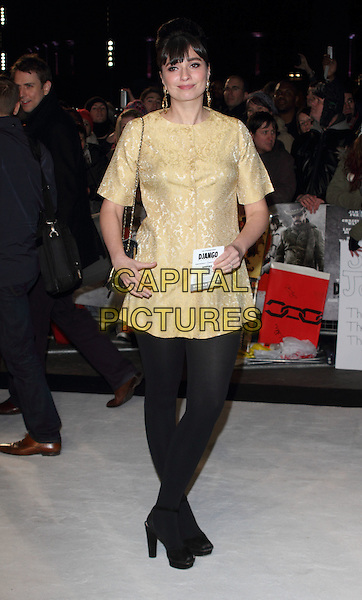 Gizzi Erskine.The UK Premiere of 'Django Unchained', Empire Leicester Square, London, England..January 10th 2013.full length yellow gold brocade dress black tights .CAP/ROS.©Steve Ross/Capital Pictures