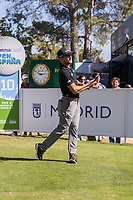 Per Langfors (SWE) on the 10th tee during the third round of the Mutuactivos Open de Espana, Club de Campo Villa de Madrid, Madrid, Madrid, Spain. 05/10/2019.<br /> Picture Hugo Alcalde / Golffile.ie<br /> <br /> All photo usage must carry mandatory copyright credit (© Golffile | Hugo Alcalde)