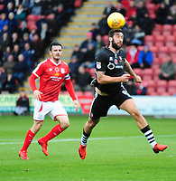Lincoln City's Ollie Palmer gets in front of Crewe Alexandra's Jordan Bowery<br /> <br /> Photographer Andrew Vaughan/CameraSport<br /> <br /> The EFL Sky Bet League Two - Crewe Alexandra v Lincoln City - Saturday 11th November 2017 - Alexandra Stadium - Crewe<br /> <br /> World Copyright &copy; 2017 CameraSport. All rights reserved. 43 Linden Ave. Countesthorpe. Leicester. England. LE8 5PG - Tel: +44 (0) 116 277 4147 - admin@camerasport.com - www.camerasport.com
