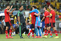 Man of The Match Mexican Goalkeeper Guillermo Ochoa Is congratulated at the End of the Game