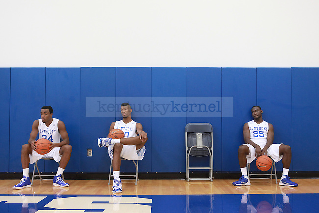 EJ Floreal, Marcus Lee and Dominique Hawkins wait to take photos at men's basketball media day in Lexington, Ky., on Thursday, September 4, 2014. Photo by Emily Wuetcher | Staff