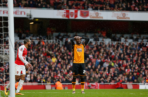 20.02.2016. The Emirates, London, England. Emirates FA Cup 5th Round. Arsenal versus Hull City. Aluko of Hull disappointed as his chance slips by  The game finished in a tight 0-0 draw