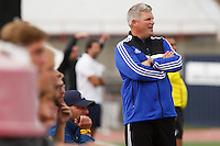 Mishawaka Marian coach Ben Householter watches the action from the sidelines during the IHSAA Class A Boys Soccer State Championship Game on Saturday, Oct. 29, 2016, at Carroll Stadium in Indianapolis. Marian won 4-0. Special to the Tribune/JAMES BROSHER