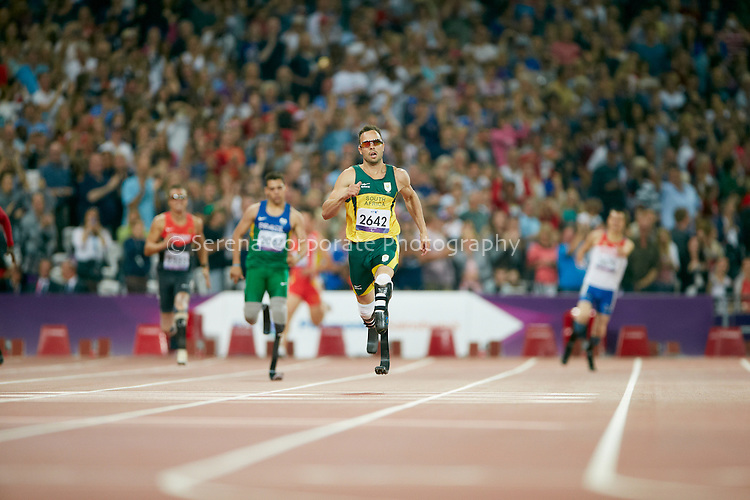 After a tumultuos week, South Africa's Oscar Pistorius finally takes gold in the men's T44 400m final at the London Paralympic Games - Athletics 8.9.12