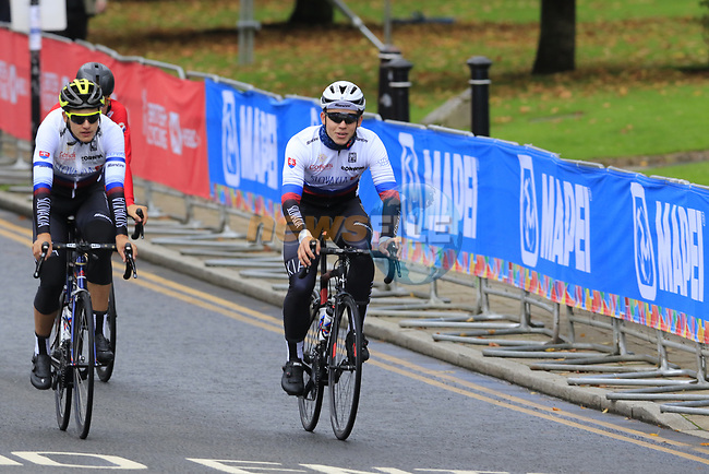 Team Slovakia take advantage of free practice on the Harrogate Circuit before the Men Elite Individual Time Trial of the UCI World Championships 2019 running 54km from Northallerton to Harrogate, England. 25th September 2019.<br /> Picture: Eoin Clarke | Cyclefile<br /> <br /> All photos usage must carry mandatory copyright credit (© Cyclefile | Eoin Clarke)