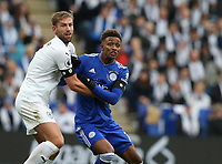 Leicester City's Demarai Gray closely marked by Burnley's Ben Mee<br /> <br /> Photographer Stephen White/CameraSport<br /> <br /> The Premier League - Saturday 10th November 2018 - Leicester City v Burnley - King Power Stadium - Leicester<br /> <br /> World Copyright &copy; 2018 CameraSport. All rights reserved. 43 Linden Ave. Countesthorpe. Leicester. England. LE8 5PG - Tel: +44 (0) 116 277 4147 - admin@camerasport.com - www.camerasport.com