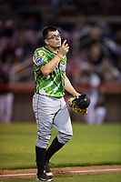 Eugene Emeralds starting pitcher Faustino Carrera (9) walks off the field during a Northwest League game against the Salem-Keizer Volcanoes at Volcanoes Stadium on August 31, 2018 in Keizer, Oregon. The Eugene Emeralds defeated the Salem-Keizer Volcanoes by a score of 7-3. (Zachary Lucy/Four Seam Images)