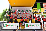 BMC Racing Team leading the team classification at sign on before Stage 16 of the 104th edition of the Tour de France 2017, running 165km from Le Puy-en-Velay to Romans-sur-Isere, France. 18th July 2017.<br /> Picture: ASO/Alex Broadway | Cyclefile<br /> <br /> <br /> All photos usage must carry mandatory copyright credit (&copy; Cyclefile | ASO/Alex Broadway)
