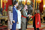 Princess Letizia of Spain, Prince Felipe of Spain, Queen Sofia of Spain, Juan Carlos I King of Spain and the Mayoress of Madrid Ana Botella attend the Royal Palace reception on the National Military Parade.October 12,2012.(ALTERPHOTOS/Pool)