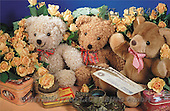 Interlitho, Alberto, CUTE ANIMALS, teddies, photos, 3 teddies, roses(KL15449,#AC#)