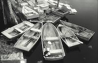 Group of tied up rowboats<br />