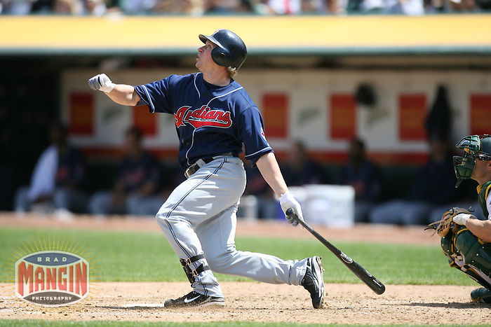 OAKLAND, CA - May 12:  Jason Michaels of the Cleveland Indians bats during the game against the Oakland Athletics at the McAfee Coliseum in Oakland, California on May 12, 2007.  The Indians defeated the Athletics 6-3.  Photo by Brad Mangin