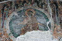 exterior Narthex,Christ Pantocrator,wall-painting,fresco,Milesheva  Monastery of Ascension of the Lord , 1234-1235
