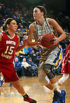 BROOKINGS, SD - FEBRUARY 2:  Megan Waytashek #24 from South Dakota State drives against Kelly Stewart #15 from the University of South Dakota in the first half of their game Sunday afternoon at Frost Arena in Brookings. (Photo by Dave Eggen/Inertia)