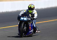 Jul. 27, 2013; Sonoma, CA, USA: NHRA pro stock motorcycle rider Freddie Camarena during qualifying for the Sonoma Nationals at Sonoma Raceway. Mandatory Credit: Mark J. Rebilas-