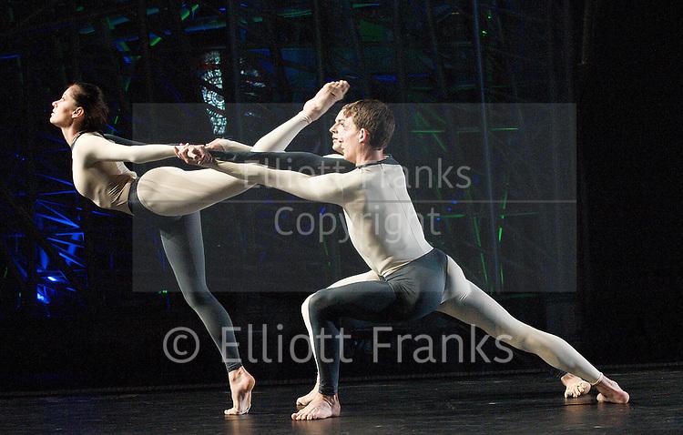 Nearly Ninety<br /> The Merce Cunningham Dance Company <br /> choreography by Merce Cunningham<br /> at The Barbican Theatre, London, Great Britain <br /> rehesrsal <br /> 26th October 2010 <br /> <br /> <br /> <br /> Dylan Crossman<br /> Melissa Toogood<br /> Brandon Collwes<br /> <br /> <br /> Photograph by Elliott Franks<br /> 2010&copy;Elliott Franks