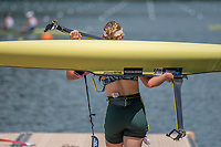 """Lucerne, SWITZERLAND, 14th July 2018, Saturday,""""AUS W1X"""",  """"Madeline EDMUNDS"""", carries, he boat to the,  """"Boat Dock"""" FISA World Cup III Lake Rotsee, © Peter SPURRIER,"""