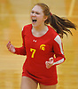 Carlea Mirante #7 of Sacred Heart Academy reacts after a point in the second set of a CHSAA varsity girls volleyball match against host St. John the Baptist High School in West Islip on Thursday, Oct. 12, 2017. Sacred Heart won the match 3-0.