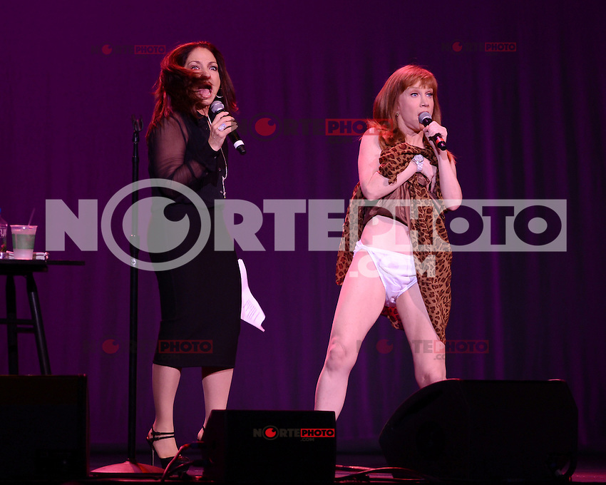 HOLLYWOOD FL - JUNE 2 : Kathy Griffin is joined on stage by Gloria Estefan as she performs at Hard Rock Live at the Seminole Hard Rock hotel & Casino on June 2, 2012 in Hollywood, Florida. ©mpi04/MediaPunch Inc.