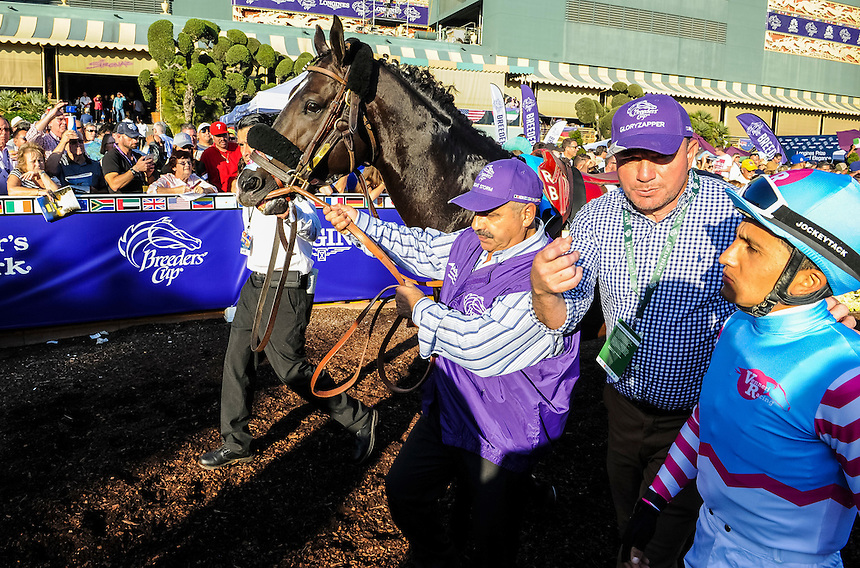 ARCADIA, CA - NOVEMBER 5: Tourist #5, ridden by Joel Rosario wins the the Breeders' Cup Mile during day two of the 2016 Breeders' Cup World Championships at Santa Anita Park on November 5, 2016 in Arcadia, California. (Photo by Bob Mayberger/Eclipse Sportswire/Breeders Cup)