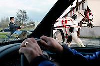 A sulkey rides through the traffic in Thomandgate Limerick
