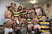 Taranaki celebrates taking the Ranfurly Shield off Canterbury at AMI Stadium in Christchurch, New Zealand on Friday, 06 October 2017. Photo: Martin Hunter / lintottphoto.co.nz