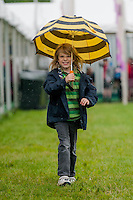 Thursday 22 May 2014<br /> Pictured: Brendan Croft from Caersws walk through the rain at the Hay Festival <br /> Re: Hay Festival takes place at Hay on Wye, Powys, Wales