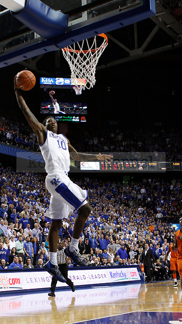 UK's Archie Goodwin takes the ball to the net on a fast break after a Gator turnover. The Cats and the Gators went into halftime tied at 31 points apiece. in Lexington, Ky., on Sunday, March, 10, 2013. Photo by James Holt | Staff
