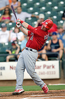 Memphis Redbirds catcher Bryan Anderson #16 swings during a game against the Round Rock Express at the Dell Diamond on July 7, 2011in Round Rock, Texas.  Round Rock defeated Memphis.  (Andrew Woolley / Four Seam Images)