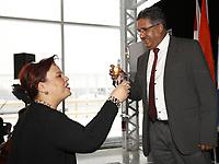 Mme Sylvie Vachon, PDG de l'Administration portuaire de Montreal (APM) remet au capitaine gagnant la Canne a pommeau d'or lors d'une ceremonie officielle au nouveau Terminal de croisieres de l'Administration portuaire de Montreal, le 3 janvier 2018.<br /> <br /> sur la photo :  Alexandra Mendes, deputee federale Brossard - Saint-Lambert <br /> <br /> PHOTO : <br /> Agence Quebec Presse