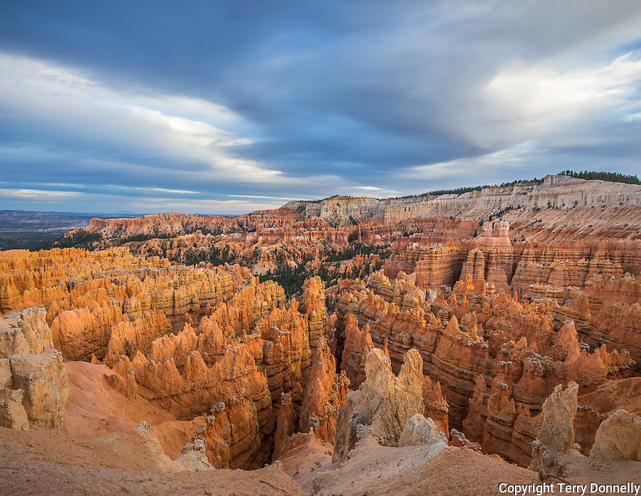 Bryce Canyon National Park, Utah:<br /> Evening clouds over the sandtone formations of the Bryce Amphitheatre