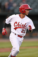 Peoria Chiefs second baseman Richy Pedroza (22) during a game against the Kane County Cougars on June 2, 2014 at Dozer Park in Peoria, Illinois.  Peoria defeated Kane County 5-3.  (Mike Janes/Four Seam Images)