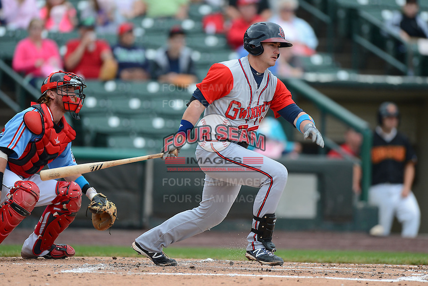 Gwinnett Braves outfielder Joey Terdoslavich #7 during a game against the Rochester Red Wings on June 16, 2013 at Frontier Field in Rochester, New York.  Rochester defeated Gwinnett 6-3.  (Mike Janes/Four Seam Images)