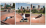 This photo assignment enlightened me. The only way to juxtapose the skateboarder and downtown Denver was to make a tight composition and let the subject pass through. Simple, but very effective.