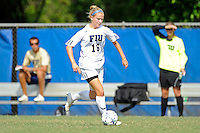 2 October 2011:  FIU's Nicole DiPerna (16) moves the ball upfield in the second half as the FIU Golden Panthers defeated the University of South Alabama Jaguars, 2-0, at University Park Stadium in Miami, Florida.