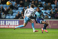 Myles Weston of Wycombe Wanderers turns Cian Harries of Coventry City during the The Checkatrade Trophy - EFL Trophy Semi Final match between Coventry City and Wycombe Wanderers at the Ricoh Arena, Coventry, England on 7 February 2017. Photo by Andy Rowland.