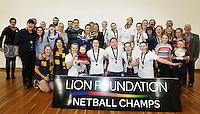 Otago team with family after winning Lion Foundation Netball Championship final match, day five, MoreFM Arena, Dunedin, New Zealand, Friday, October 04, 2013. Credit: Dianne Manson/©MBPHOTO /Michael Bradley Photography.