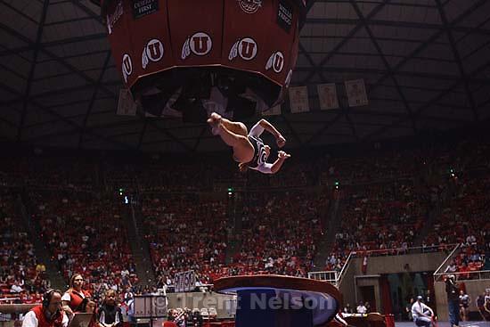 Salt Lake City - Jamie Deetscreek on the vault, University of Utah vs. Florida gymnastics Friday March 13, 2009..