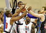 USA's Chris Paul (l), Kevin Durant (f), LeBron James (b) and Argentina's Andres Nocioni (r) during friendly match.July 22,2012. (ALTERPHOTOS/Acero)