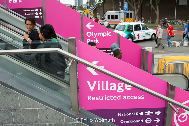 Entrance to the London 2012 Olympic Park via the Westfield shopping centre in Stratford.