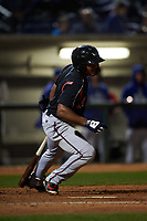 Lake Elsinore Storm second baseman Eguy Rosario (1) starts down the first base line during a California League game against the Rancho Cucamonga Quakes at LoanMart Field on May 19, 2018 in Rancho Cucamonga, California. Lake Elsinore defeated Rancho Cucamonga 10-7. (Zachary Lucy/Four Seam Images)