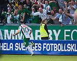 Stockholm 2013-06-23 Fotboll Superettan , Hammarby IF - &Auml;ngelholms FF :  <br /> Hammarby 10 Kennedy Bakircioglu jublar framf&ouml;r Hammarby supportrar efter att ha kvitterat till 1-1 och gjort det sista m&aring;let i den sista matchen p&aring; S&ouml;derstadion<br /> (Foto: Kenta J&ouml;nsson) Nyckelord:  jubel gl&auml;dje lycka glad happy supporter fans publik supporters
