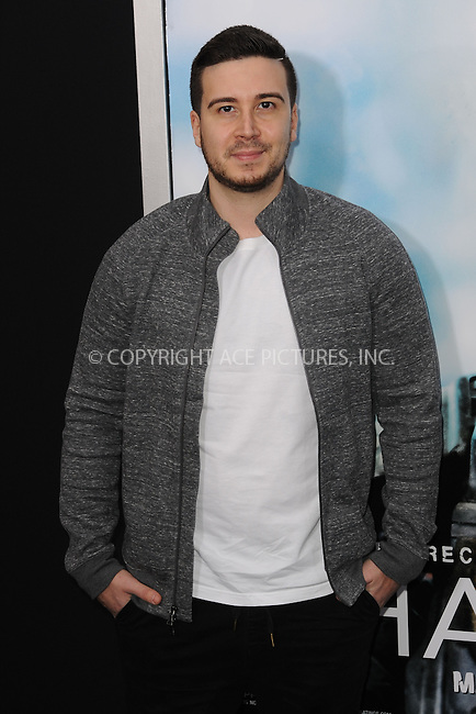 WWW.ACEPIXS.COM<br /> March 4, 2015 New York City<br /> <br /> Vinny Guadagnino attending the 'Chappie' New York Premiere at AMC Lincoln Square Theater on March 4, 2015 in New York City.<br /> <br /> Please byline: Kristin Callahan/AcePictures<br /> <br /> ACEPIXS.COM<br /> <br /> Tel: (646) 769 0430<br /> e-mail: info@acepixs.com<br /> web: http://www.acepixs.com
