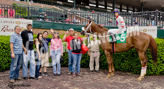 Nico the Champ winning at Delaware Park on 5/20/13 Jockey Erasmo Martinez'  first Career Winner