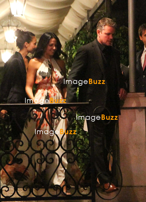 Matt Damon &amp; wife Luciana Barroso - GEORGE CLOONEY &amp; AMAL ALAMUDDIN CELEBRATE STAG NIGHT EVENT AT DA IVO RESTAURANT IN VENICE - <br /> George Clooney &amp; British fiancee Amal Alamuddin celebrate their stag night event at the Da Ivo restaurant in Venice, prior to their wedding day. <br /> Robert De Niro, Matt Damon, Brad Pitt and Cate Blanchett were among the other stars, like Cindy Crawford, Rande Geber, Bill Murray, Emily Blunt.<br /> Italy, Venice, 26 September, 2014.