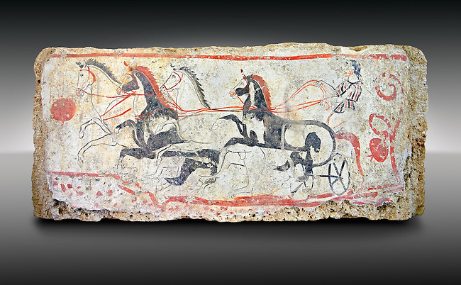 Lucanian fresco tomb painting of a chariot race . Paestrum, Andriuolo. Tomb n. 48.  ( 340-330 BC )