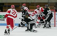 Boston, Massachusetts - February 23, 2019: NCAA Division I. Providence College (black) defeated Boston University (white), 2-1, at Walter Brown Arena.