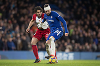 Olivier Giroud of Chelsea & Ahmed Hegazy of WBA during the Premier League match between Chelsea and West Bromwich Albion at Stamford Bridge, London, England on 12 February 2018. Photo by Andy Rowland.