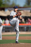 Lancaster JetHawks starting pitcher Ty Culbreth (11) prepares to deliver a pitch during a California League game against the San Jose Giants at San Jose Municipal Stadium on May 12, 2018 in San Jose, California. Lancaster defeated San Jose 7-6. (Zachary Lucy/Four Seam Images)